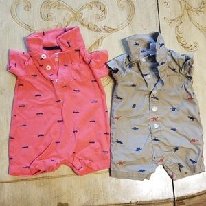 2 3M short sleeve onesie short outfits, tan & red